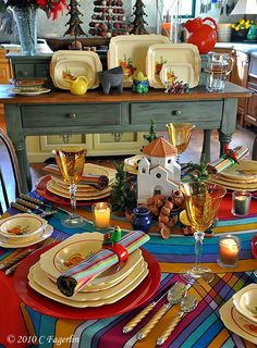 """Homer Laughlin China in """"Mexicana"""" with a Bold Stripe Tablecloth and a Wonderful Mission Figure"""