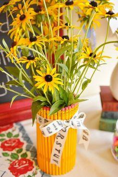 'Back To School' flower arrangement:)
