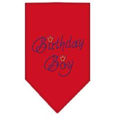 Birthday Boy Rhinestone Bandana Red Small