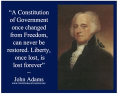 John Adams Poster, Liberty once lost is lost forever - The Federalist Papers