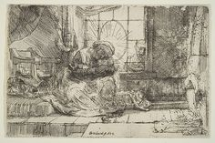 Rembrandt, Virgin and Child with the Cat: and Joseph at the Window, 1654. Etching