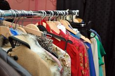 Always stacks of vintage clothes at Hay Does Vintage fayres. Hay-on-Wye.