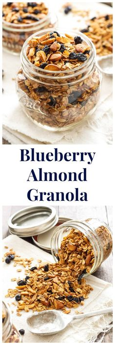 Crunchy, sweet, granola bursting with dried blueberries and almonds! Healthy Breakfast Recipes, Snack Recipes, Cooking Recipes, Snacks, Freezer Recipes, Freezer Cooking, Drink Recipes, Cooking Tips, Parfait Recipes