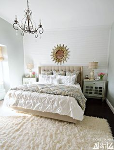 Sharing my master bedroom reveal. Plank walls and Sherwin Williams Comfort Gray.