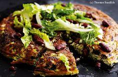 Spinat-Tortilla mit Kidneybohnen und Salat Guacamole, Meatloaf, Salmon Burgers, Pork, Pizza, Beef, Ethnic Recipes, Tex Mex, Pie