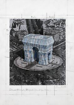 Christo and Jeanne-Claude The Arc de Triomphe de l'Etoile Wrapped, Place Charles de Gaulle, Paris, France 2018 Paris In October, Christo And Jeanne Claude, Art Fund, Create Words, Yarn Bombing, Photomontage, How To Draw Hands, Tapestry, Drawings