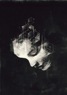 ffffound    lovely girl, hairline turning into cubes