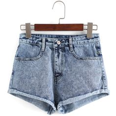 SheIn(sheinside) Blue High Waist Fringe Denim Shorts (€14) ❤ liked on Polyvore