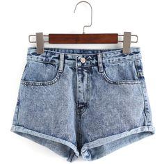 SheIn(sheinside) Blue High Waist Fringe Denim Shorts (€14) ❤ liked on Polyvore