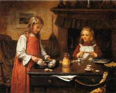Harry Brooker (1848 – 1940, English) - Tea Party (detail)