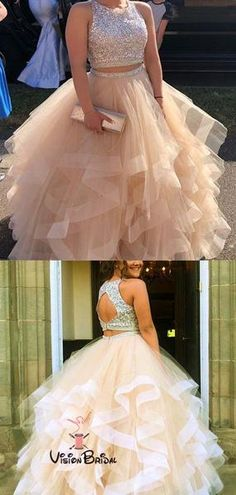 Sequin Beaded Ruffles Organza Two-piece Ball Gowns Prom Dresses 2018 - alinanova - Kleider Prom Dresses Two Piece, Cute Prom Dresses, Prom Dresses 2018, Ball Gowns Prom, Ball Dresses, Pretty Dresses, Beautiful Dresses, Formal Dresses, Prom Dreses