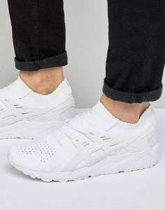 online store 8bb57 a9cbf Asics Gel-Kayano Knitted Sneakers In White H705N 0101