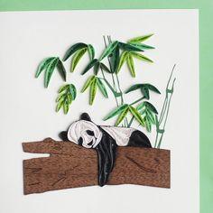 Quilled panda greeting card