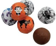 Thompson's Solid Milk Chocolate Foiled Halloween Balls.