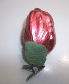 Vintage Blown Glass FRENCH TULIP Christmas Tree Ornament CLIP ON Pink