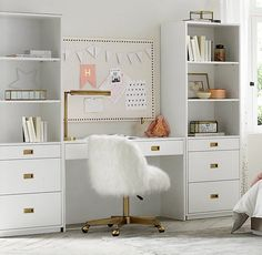 RH Baby & Child& Avalon Study Wall Set:The sleek lines of our collection capture the sophisticated restraint of modernism, while its polished cast-metal fittings take it in a new direction. Study Room Decor, Teen Room Decor, Room Decor Bedroom, Bedroom Ideas, Home Office Design, Home Office Decor, Home Decor, Office Ideas, Girl Bedroom Designs