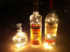 For with friends with a wet bar... Alcohol Lighting Glass Liquor Bottle Lamps  by CandyMountainDeluxe, $19.95