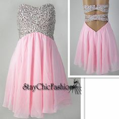 Sparkly Top Pink Short Open Back Chiffon Dress