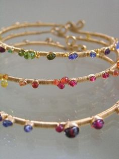 Gold filled bangles studded with striking..sparkling gemstones!!
