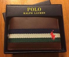POLO Ralph Lauren Men's Leather & Canvas Ribbon Pony Wallet Billold Brown New
