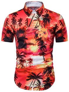 c628035dca8 Trees Tie Dye Print Cover Placket Hawaiian Shirt - JACINTH 3XL