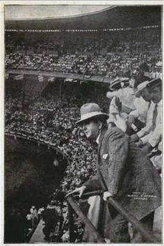 Charles Comiskey, owner of the White Sox, on opening day of his new ballpark, c.1910, Chicago.