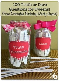 If you are hosting a tween birthday party idea in the near future: Here are 100 Truth or Dare Questions for Tweens!