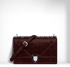 Dior Aubergine Crocodile Diorama Flap Bag