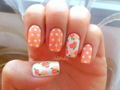 orange *flowers & polka dots*