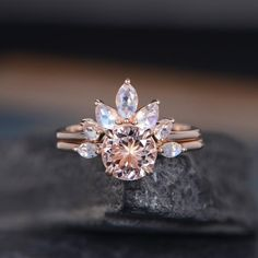 Check this ruby flower engagement ring set from Camellia Jewelry. Scrupulously handmade in fine detail, it is a unique white gold ring set that will show her how much you care without breaking the bank. Morganite Engagement, Morganite Ring, Rose Gold Engagement Ring, Engagement Ring Settings, Diamond Wedding Bands, Gold Bands, Tiffany Engagement, Halo Engagement, Bridal Ring Sets
