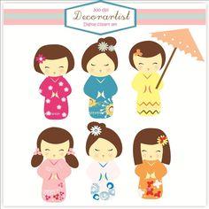 Digital clip art, Kokeshi dolls clip art, girls ... $4.50, via Etsy.