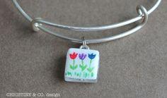 Teeny Tiny Painted Tulip Garden Glass Charm on Adjustable Bracelet on Etsy, $30.00