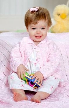 Free Knitting Pattern - Baby Knits: Sweet Eyelet Baby Sweater