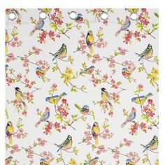 Catherine Lansfield Birds Boutique White Pink Pair of Eyelet Ring Top Curtains. Also available co-ordinating duvet set and scatter cushion.