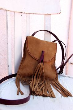Fringed Leather bag / Fringed bag / Fringed purse by Cuerobanchel