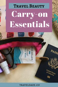 Carry-on Essentials: In-Flight Travel Beauty Essentials Find out what beauty, makeup, and toiletry products I keep in my personal item while flying. These are my carry-on beauty essentials while traveling. Travel Makeup Essentials, Carry On Essentials, Beauty Essentials, Travel Beauty Routine, Beauty Routines, Carry On Makeup, Carmex Lip Balm, Makeup Kit, Beauty Makeup