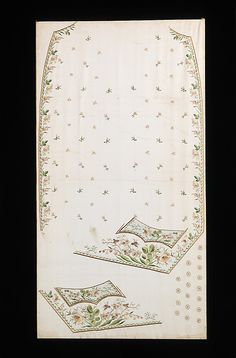 Textile (Habit à la disposition), 1760-75, French, silk, paper. This rare flat textile documents the manner in which valuable men's embroidered waistcoats were produced. The embroidery was worked on the textile in the shape of the right front, left chest, left pocket & buttons, before the fabric was cut & fashioned into a garment. Due to limited loom width in 18th century, economical use of the narrow textiles resulted in the left pocket commonly embroidered apart from the left chest panel.