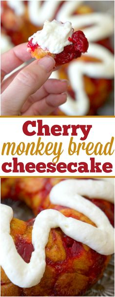 This sweet cherry cheesecake monkey bread is just amazing! For breakfast or dessert it's easy to make and you can use any flavor pie filling you want. via @thetypicalmom