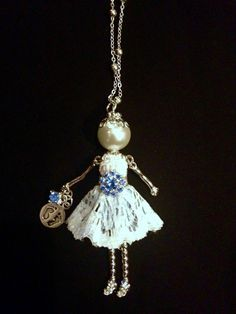 Ellie's Belle necklace with baby feet charm and blue stones for a mother-to-be. Perfect pregnancy jewelry, baby shower gifts, etc.!
