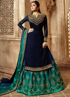 Drashti dhami navy blue lehenga style suit online which is crafted from georgette fabric with exclusive embroidery, zari and stone work. This stunning designer lehenga style suit comes with rangoli lehenga and rangoli dupatta. Silk Anarkali Suits, Lehenga Suit, Anarkali Gown, Lehenga Style, Party Wear Lehenga, Silk Lehenga, Party Wear Dresses, Bridal Dresses, Blue Lehenga