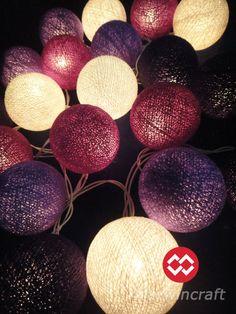 20 Big Cotton Balls Mixed Purple Tone String Lights