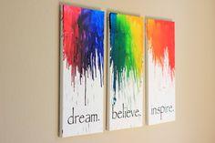 Canvas wall art set Melted Crayon Art Large door MeltedCrayonsArt