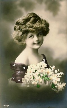 Beautiful young girl vintage postcard
