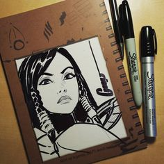 """#pharah #overwatch ( Update : Sold! ) this is an example of a """" Level 1 """" commission I'm offering for this next commission run this month. It is drawn on back of my first sketchbook #FSBook001. The """" Level 2 """" colour headsketches will be on FSBOOK 002. I will also do some blank covers as well which would be called """" Level 3 """" . Larger commissions I am starting to stray from , but if I feel comfortable I'll open to that as well. I have a bunch of these books on hand and tonight I will open..."""