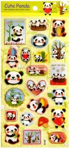 Cute Panda Kawaii Gold Foil Sticker Sheet