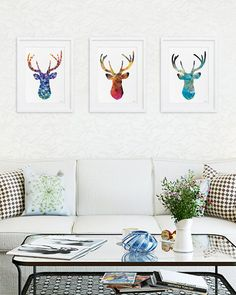 Antler Stag Blue Deer Print Set of 3 Minimalist Art by ElfShoppe