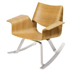 The Buttercup Rocker features a bent plywood seat and curvy steel base for a unique, modern design. Buy this modern rocking chair design at Blu Dot. Nursery Furniture, Kids Furniture, Modern Furniture, Furniture Chairs, Furniture Design, Plywood Furniture, Outdoor Furniture, Metal Wood, Bent Wood