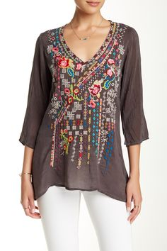 Love this as a casual piece. Would call it tastefully embroidered. 3/4 Sleeve Embroidered Tunic by Johnny Was on @HauteLook
