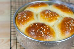Japanese Style Coconut Custard Buns Recipe (Christine's Recipes), dough made using TangZhong method