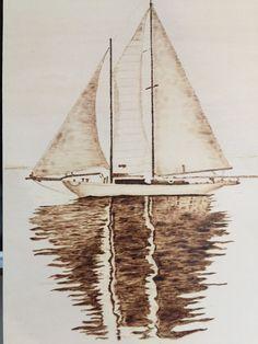 Pyrography Sailboat